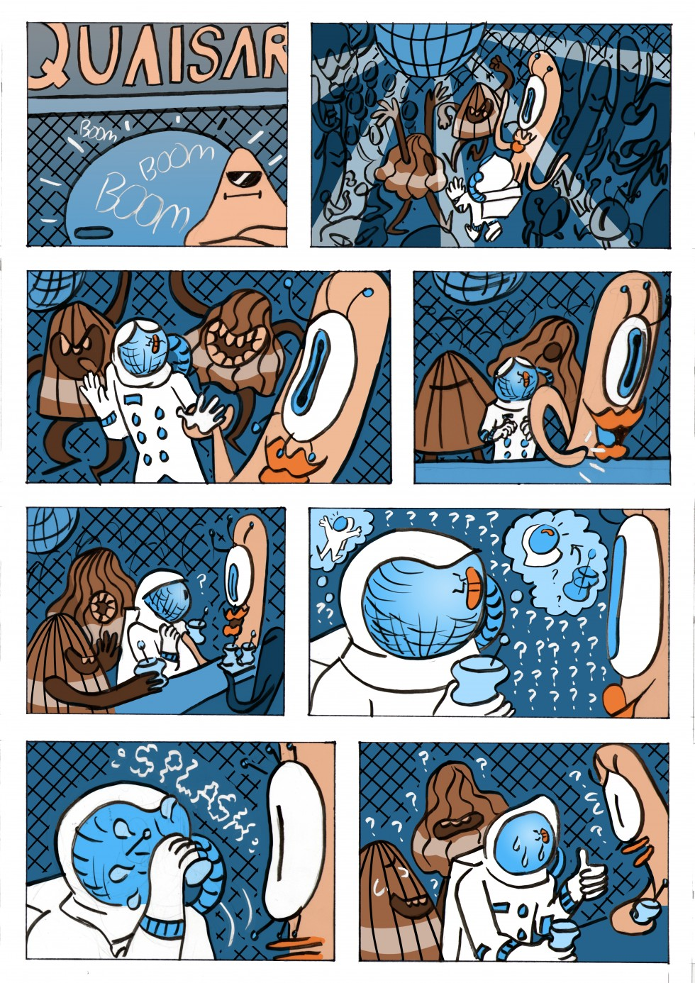 "A selection of images from the comic ""Lost Signal"", a story about a little astronaut who crash lands on an alien planet and has to fix his ship. But the longer he stays on the planet the less he wants to leave."