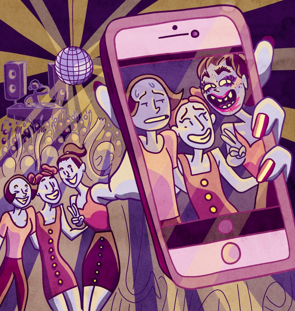 Three women are in a dance club filled with people and flashing lights. The women are taking a selfie. From far away they all look normal, but in the selfie, it shows that one of the girl's makeup is tragically bad looking. The other two girls look but do