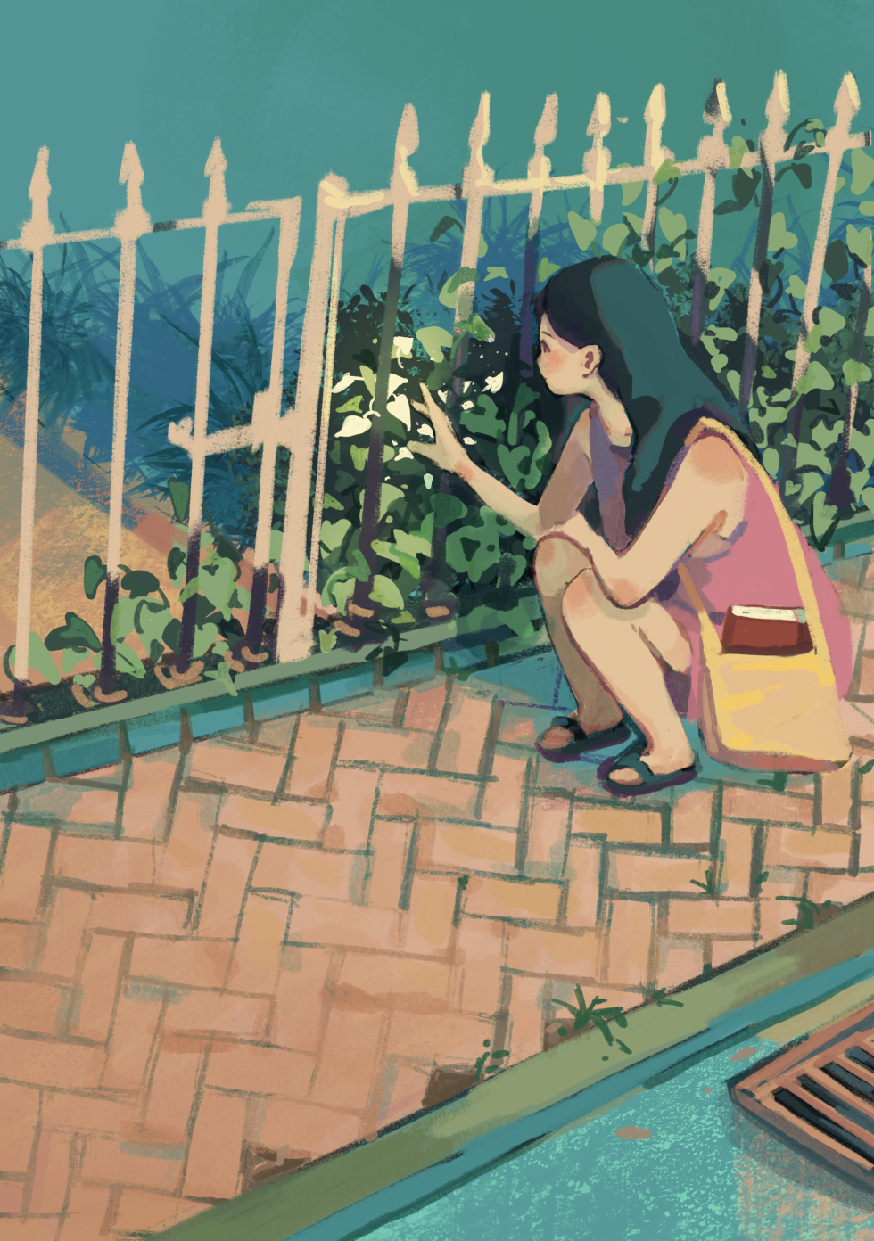 Digital Illustration about a girl and her friend Having Lunch during lunch break/ Digital Illustration about a girl chilling on her bed/ Digital Illustration about a girl observing vines on a sidewalk.