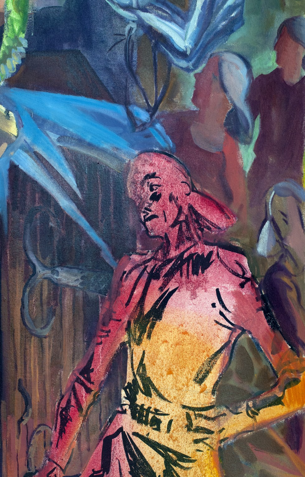 A montage of images, as the figure in red continues to lecture the main character; the noose is placed around his neck. dripping from the noose are strange ethereal sets of fingers and teeth as ghostly hands level a sinister sewing needle. As this climact