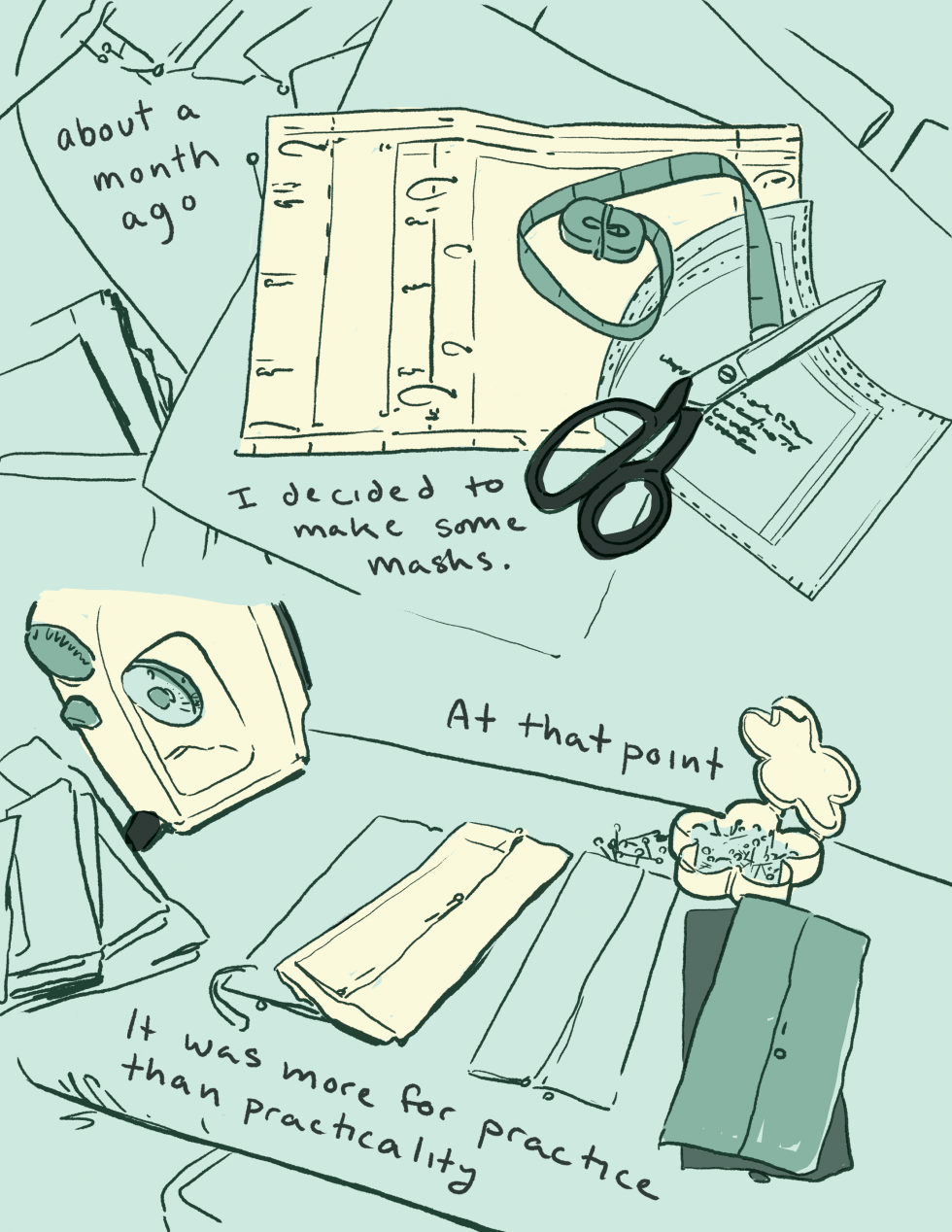 "Comic page reading, ""about a month ago I decided to make some masks. At that point it was more for practice than practicality"" Art is rendered in shades of blue and shows an ironing board with several sewing and fabric related items in two loose"