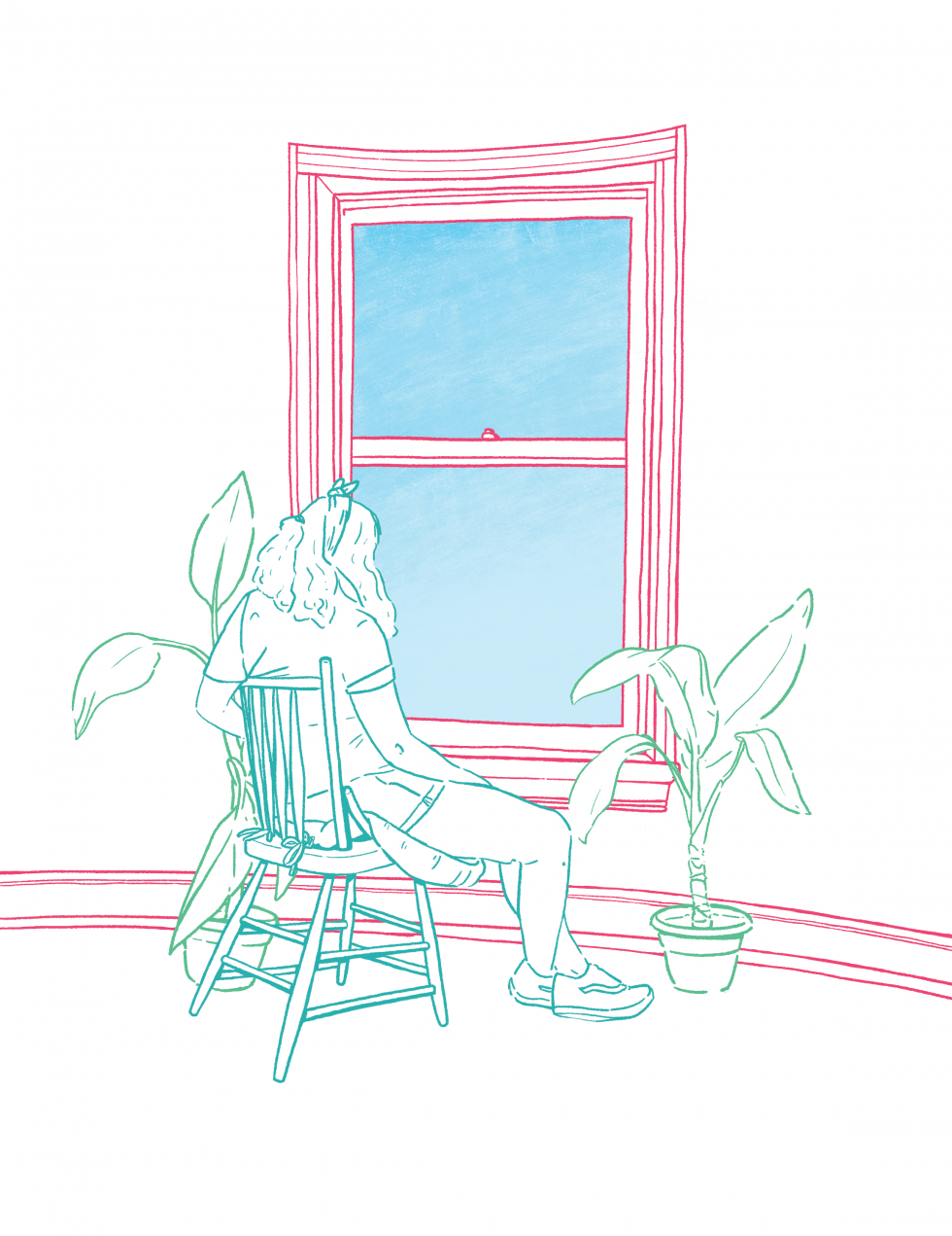 A figure sitting in a chair in front of a window surrounded by a couple of plants.
