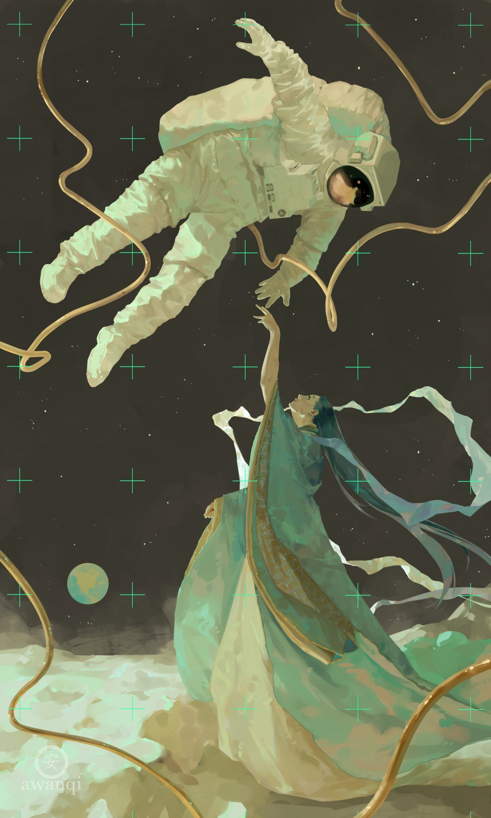 A young woman on the moon reaches out to an astronaut