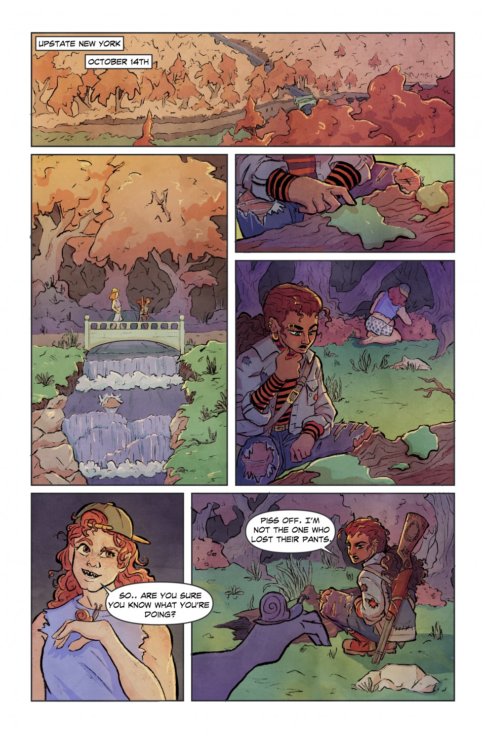 A comic page depicting two girls as they search a forest for a pair of pants