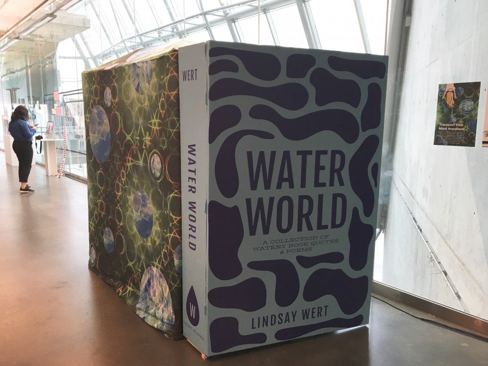 This thesis project was an interactive art installation called Books: Portals in Disguise. The participant opens up the 6ft door that was made to look like a giant book named Water World. Then they walk through a slit tapestry, which represents a magic po