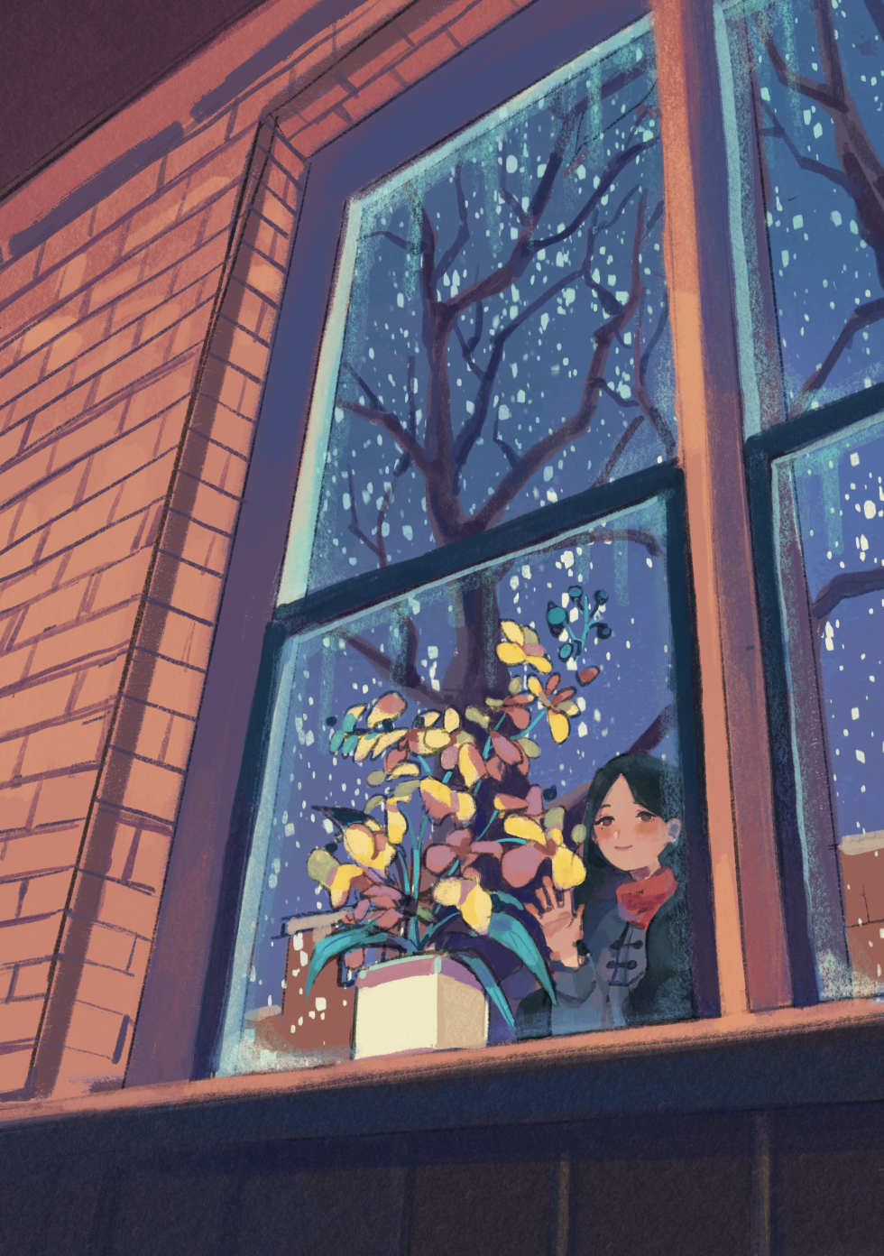 Digital Illustration about a girl looking over a window at a plant growing in winter.