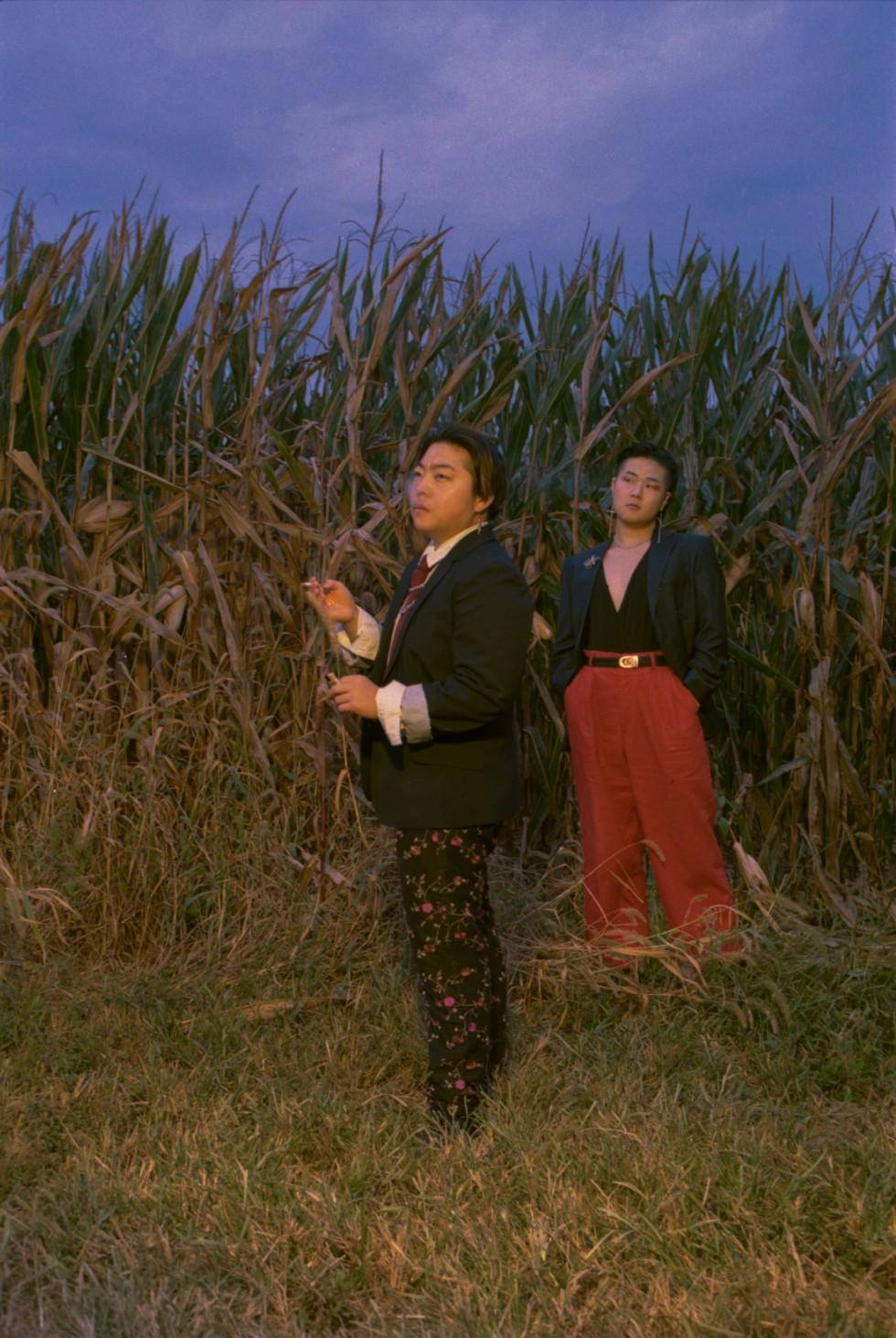Two people standing in front of corn stalks