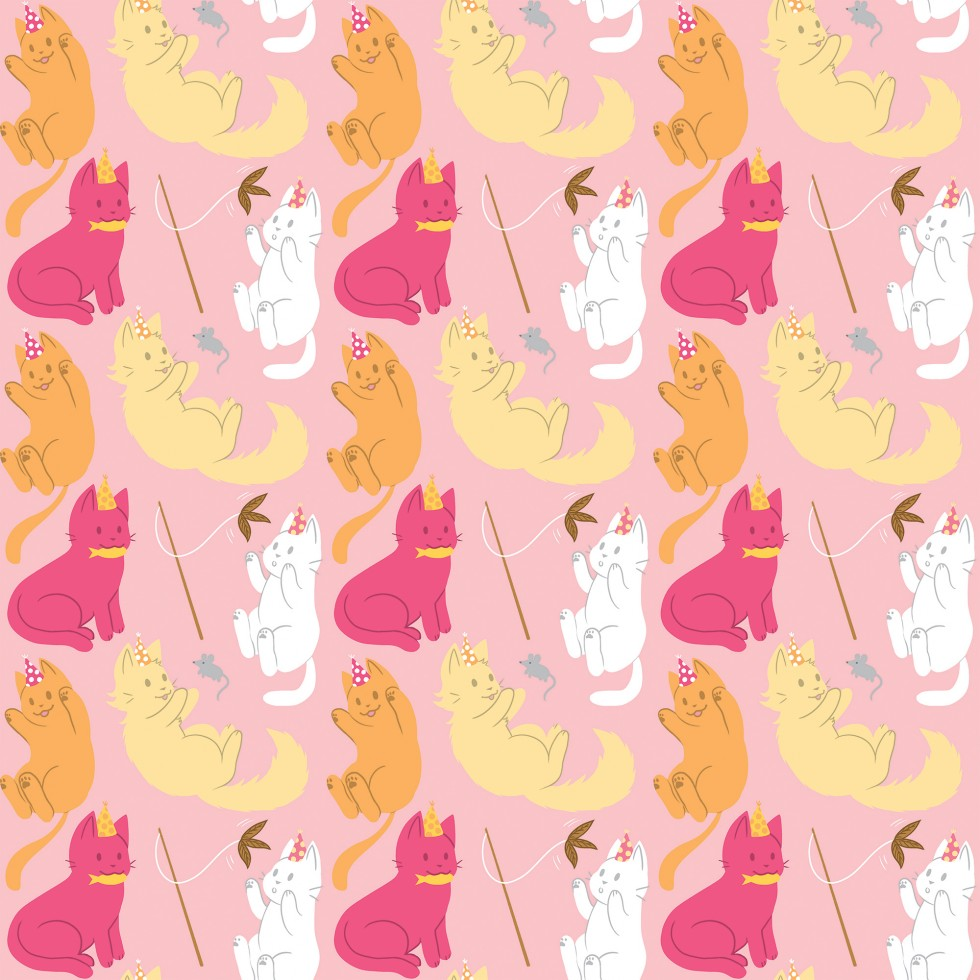 Repeating pattern of cats wearing party hats playing with various cat toys (a mouse, fish, and feather on a stick.)