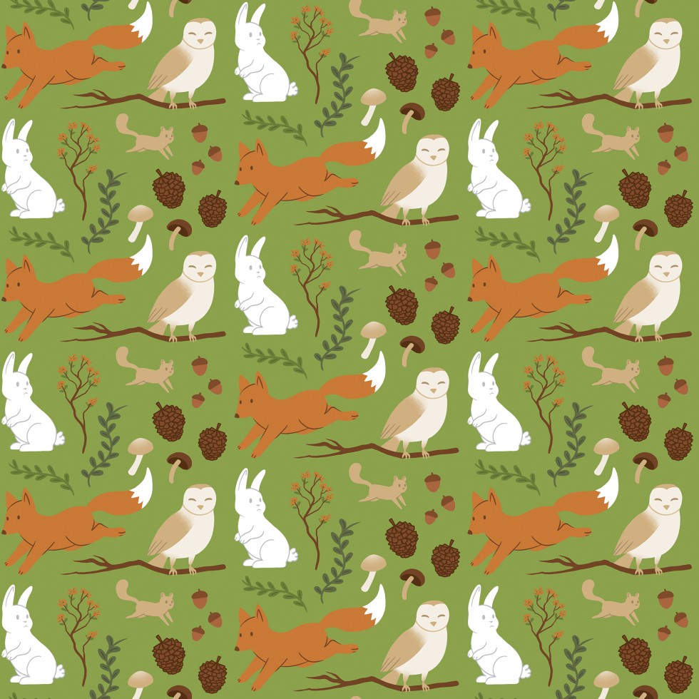 Repeating pattern of a forest plants and creatures (fox, rabbit, squirrel, and owl.)