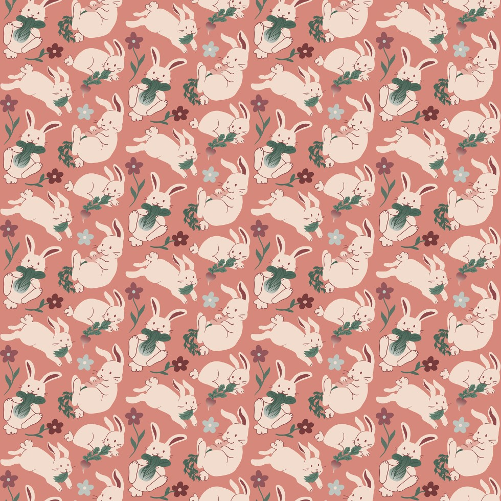 Repeating pattern of flowers and bunnies holding various vegetables: lettuce, bok choy, radishes, and carrots.