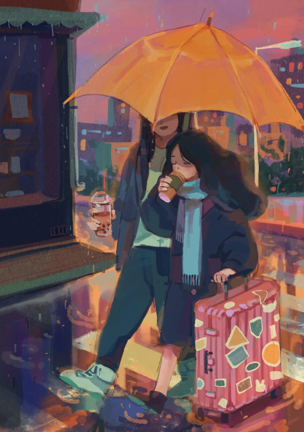 Digital Illustration about a girl traveling to her friend's city