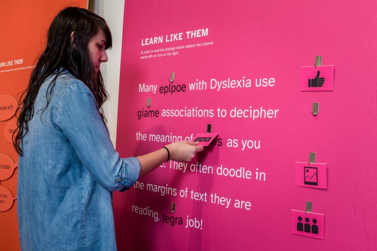 In this interactive participants learn like someone with Dyslexia. They must replace the scrambled words with icons that relate to them. This shows how people with Dyslexia often doodle to help them understand text.