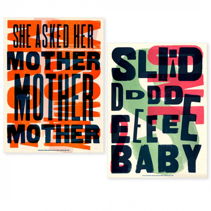 The three colorful layers are letterpress printed using wood type from the Globe Collection.