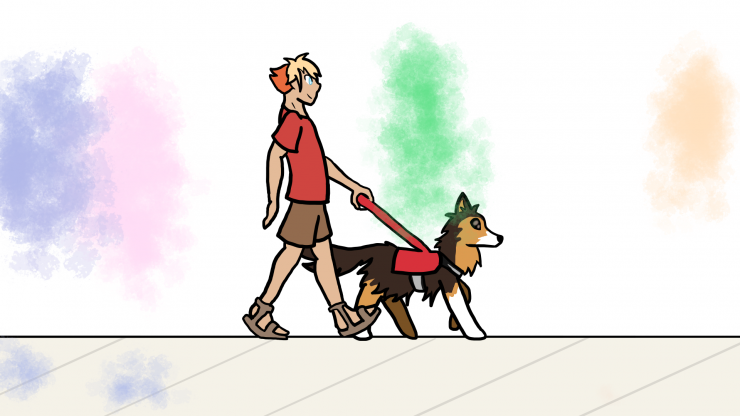 A man is walking down a sidewalk with his seeing eye dog. He hears the various residents of the town talk around him and listens to the waves of the beach. When the voices come into focus, they are depicted by coloured blobs and streaks, moving as the aud