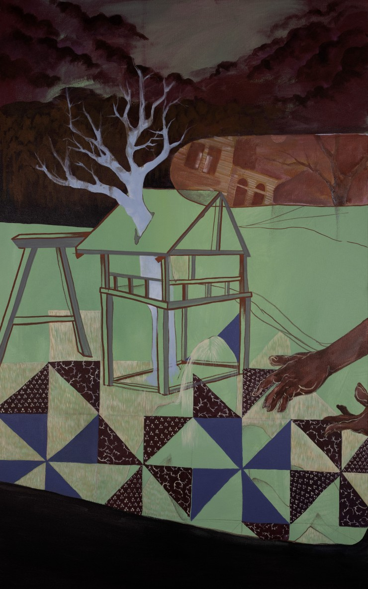 A bright tree without leaves grows through the center of a child's swing set tree house. A translucent woman reclines in the foreground, turned away from the viewer. A pair of hands reach out to the woman from the right side of the canvas. In the backgrou