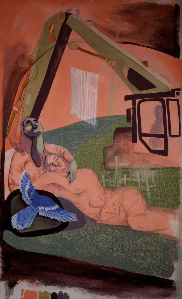 Looking out of a car door window a woman cradles the head of a man that is lying prone on a intricately patterned field of grass. A construction crane arcs above both figures, a translucent American flag is strung between the two arms of the crane. Smalle
