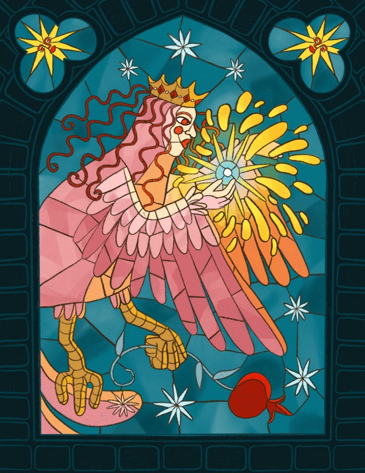 The applique shows a pink harpy with a crown clutching a pomegranate branch in her talons against a light blue background. above the harpy is a comet with a face. The applique is sewn onto a short bright yellow slip dress. The illustration shows a stained