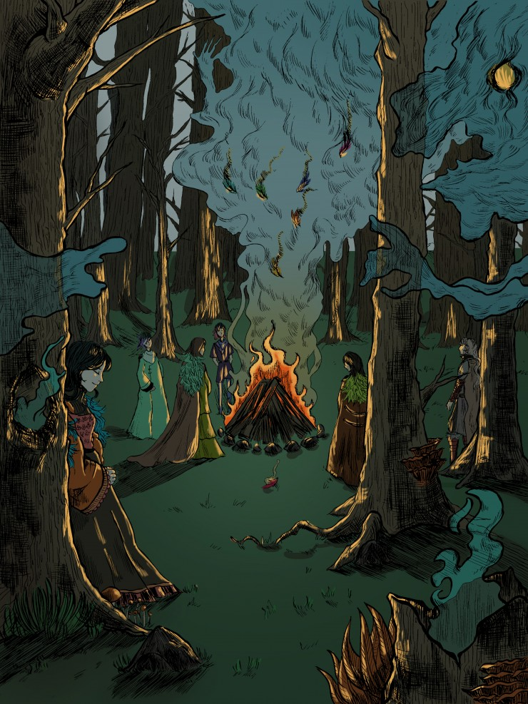 Book illustration for an original story where they light a fire in the woods to burn the remnants of the dead.