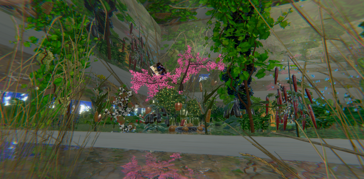 """Looking off to the left in the """"reflection chamber"""" reveals an edenic/idyllic version of the earth."""
