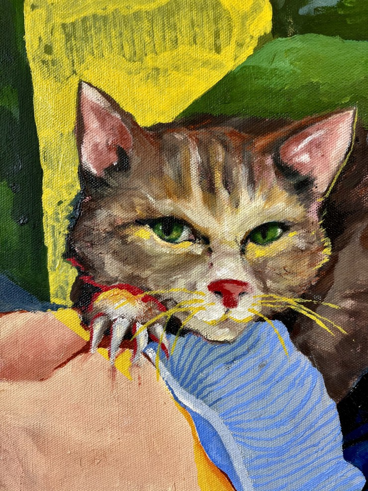 A tabby cat lays across the center of the painting, on top of a girl's chest; they are on a vibrant green couch. Her arms and legs hold the cat, framing the right side of the painting.