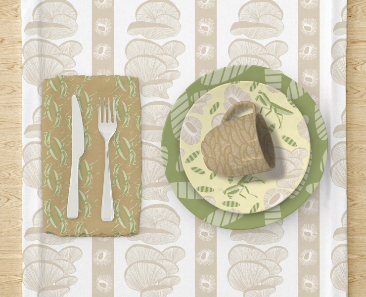 Two images of a table set in a dark and yellow, green, beige and white color pallet. The first image has a cloth napkin under a fork and knife on the left side of the table. The napkin has a dark mustard background with vertical green grasshoppers. To the