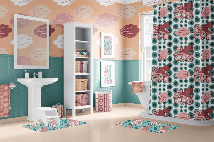 The second image has the same bathroom but in a pink and blue green color pallet and beige floor. The shower curtain has a white background with blue polkadots and pink seashells and octopuses. The bathmat has a blue background with pink octopuses with bl