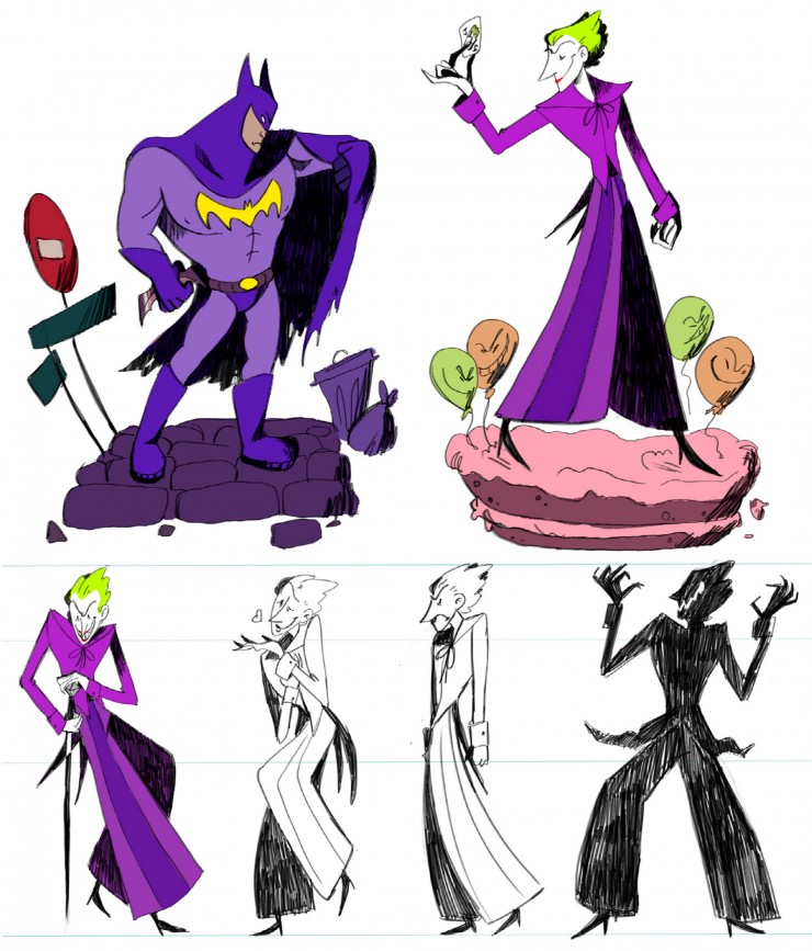 Original designs of Batman and the Joker. A turnaround of the Joker is underneath.