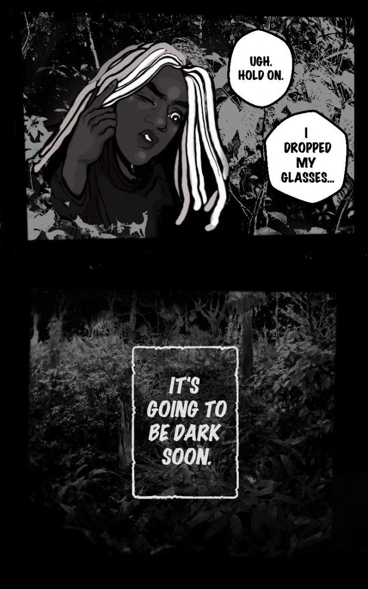 Picture from the comic of character wandering in the dark in the woods.