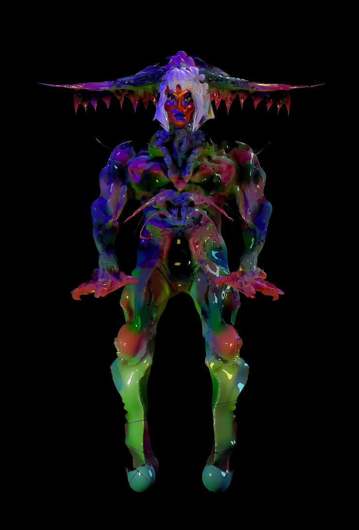 colorful figure in front of a black background. the colors are reminiscent of a praying mantis.