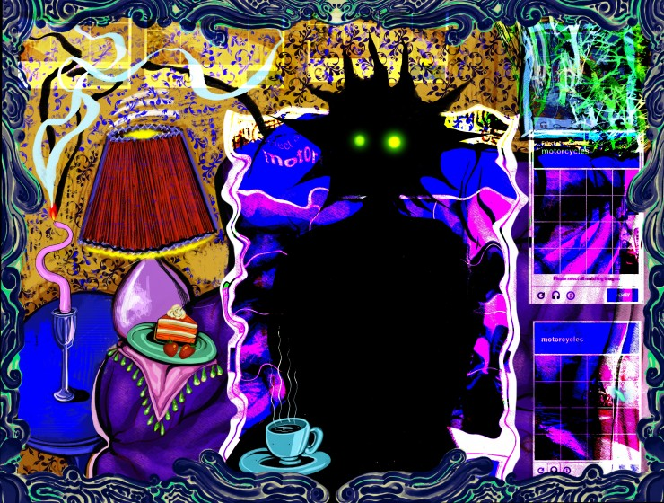 a completely blacked-out figure with glowing eyes sits back on a couch with tea and a small cake on a side table. a twisted candle burning smoke into the room. There are captcha puzzles overlayed all throughout the piece.