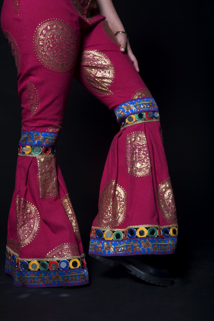 High Waisted pants with flared hem, foiled embroidery, Indian textiles and zipper closure