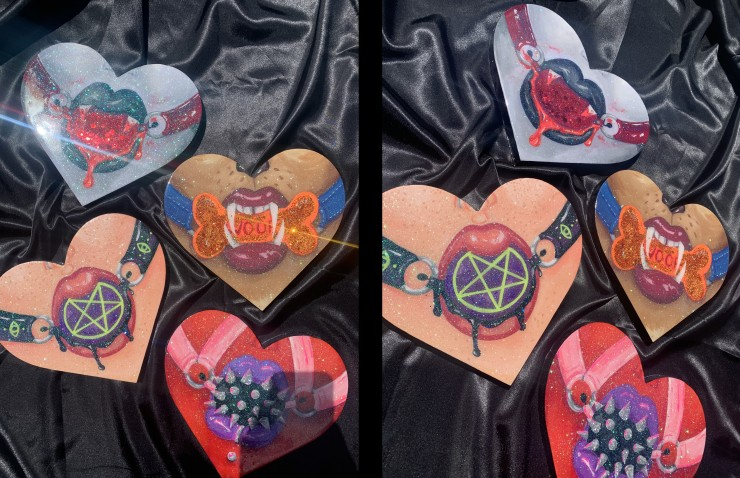 Pictures of resin coated hearts with different variants of monster girl's lips with ball gags strapped to their face