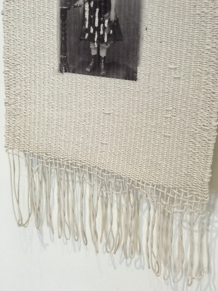 little girl printed on white tapestry with fringe