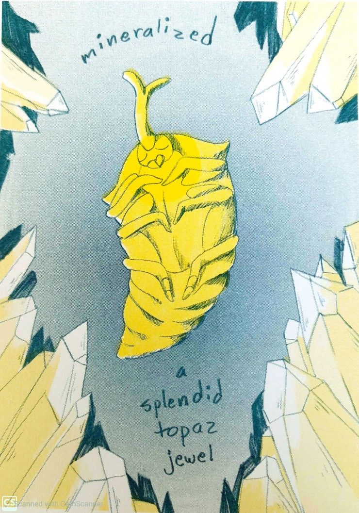 Three teal and yellow risograph printed illustrations featuring insects and quotes. The cover is of a pile of bugs. One image is of a beetle pupa surrounded by crystals. The other is of a beetle standing on a cliff.
