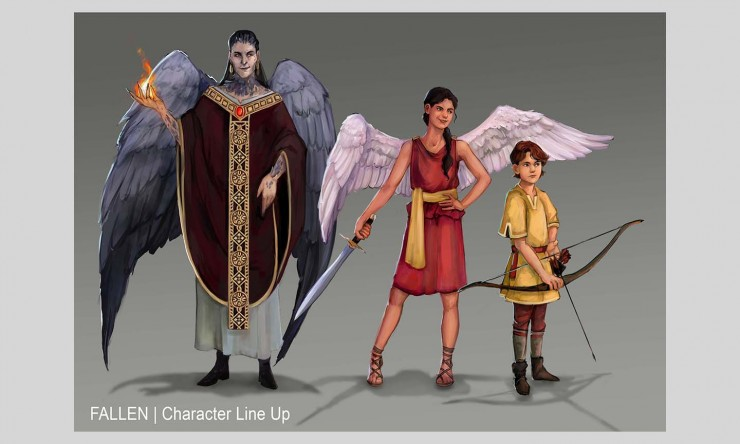 Lineup of three characters that vary in age. On the far left is a middle age man who has large dark wings and showcases fire powers. In the middle is a teenage girl who has smaller white wings. She carries a sword and does a confident pose. Lastly, on the