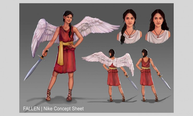 Nike, the main character, strikes a confident pose and holds a sword. She is a angel with large white wings. A frontal and backside is shown of the character for design purposes. Hair options and wing size is also shown.
