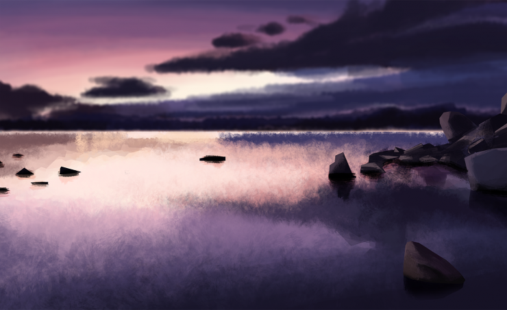 There are two illustrations of an undisturbed and still body of water. One is done in a dawn/midday setting while the other is done in a twilit/sunsetting setting. Each reflects the clouds and colors that appear in the sky in the water. There are a couple