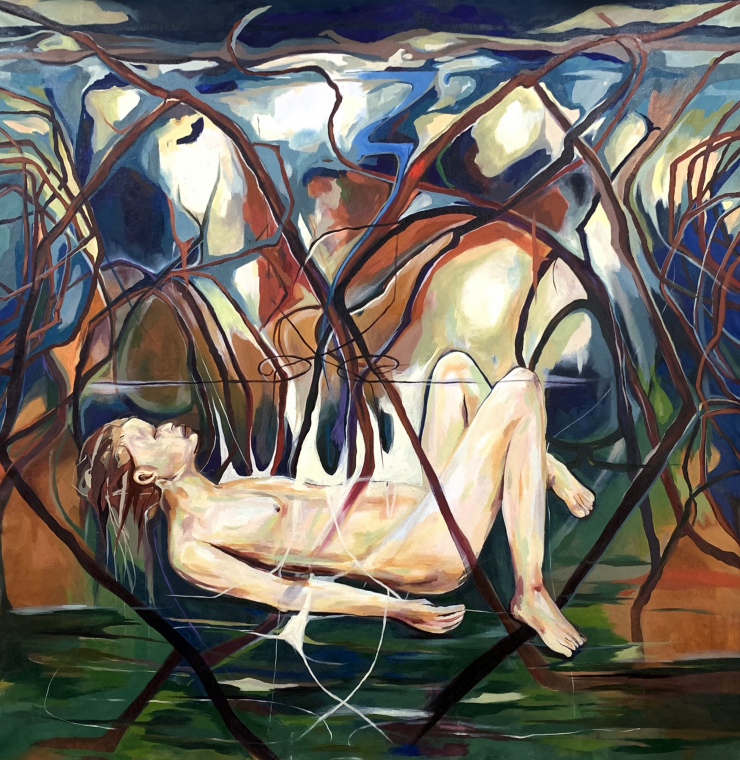 Portrait on a 6ft x 6ft square shaped canvas with a pale body laying in the center of an atmospheric surrounding scene of earth tone colors and red painted tangling mangroves.