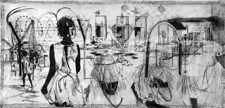 Charcoal drawings on scroll like un-stretched canvas with depictions of fragmented memories, histories, animals, and historical or religious symbols all in black and white.