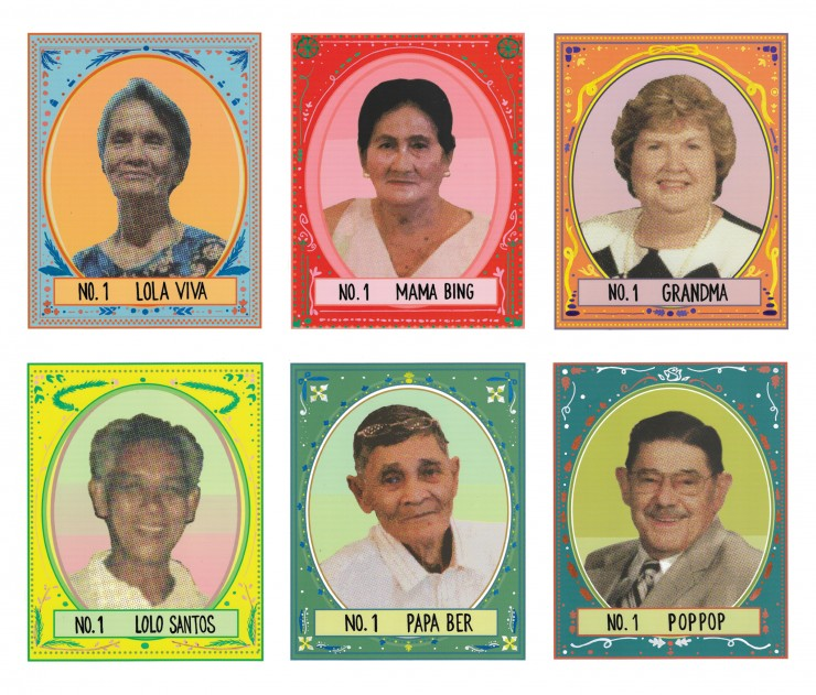 """Special Edition is consist of six 6"""" x 7.5"""" cards that feature portrait of Irish Carpo's grandparents. Each portrait has borders that are have hand drawn designs that relates to each grandparent. The names of the grandparents are at the bottom of each car"""