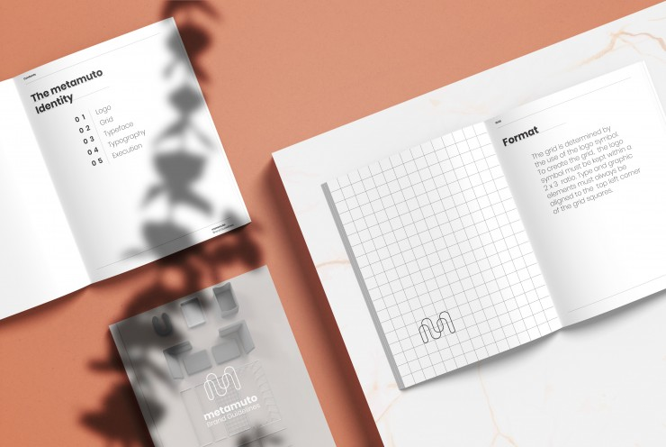 A brand guidelines book for the metamuto brand and examples of the guidelines in execution.