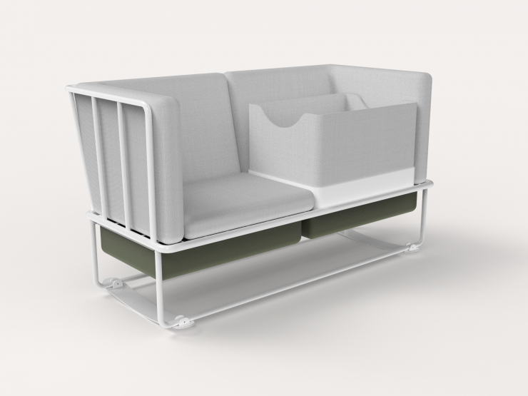 A loveseat with rockers, a baby cradle, and storage baskets.