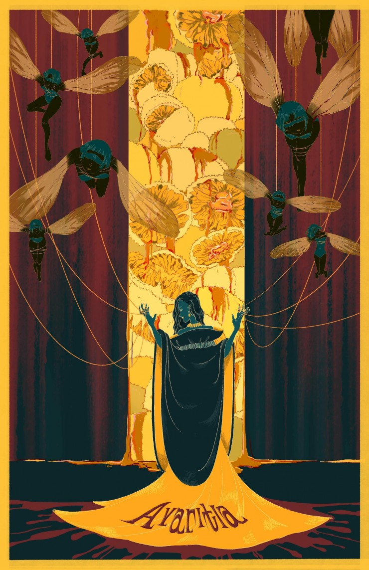A poster of a girl puppeteering flies and locking the jackfruits away from other, symbolizing selfishness and power-thirst.