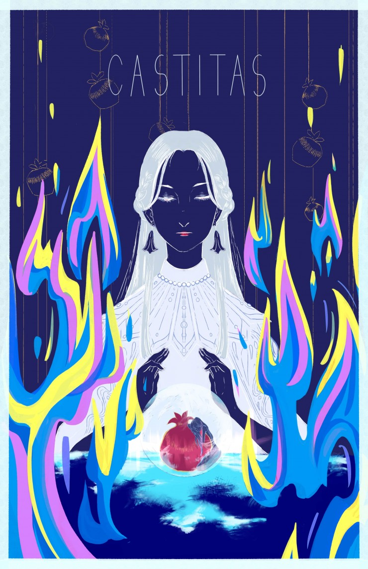 Poster of a person casting a layer of ice around the pomegranate as fire surrounds the person symbolizing protection and restriction of desire.