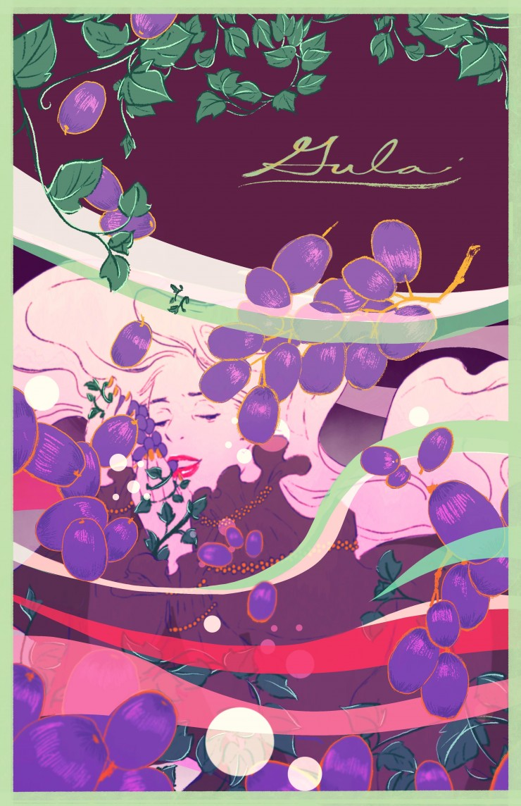 Poster of a girl drowning in the water of uncontrollable appetite with grapes surrounding her.