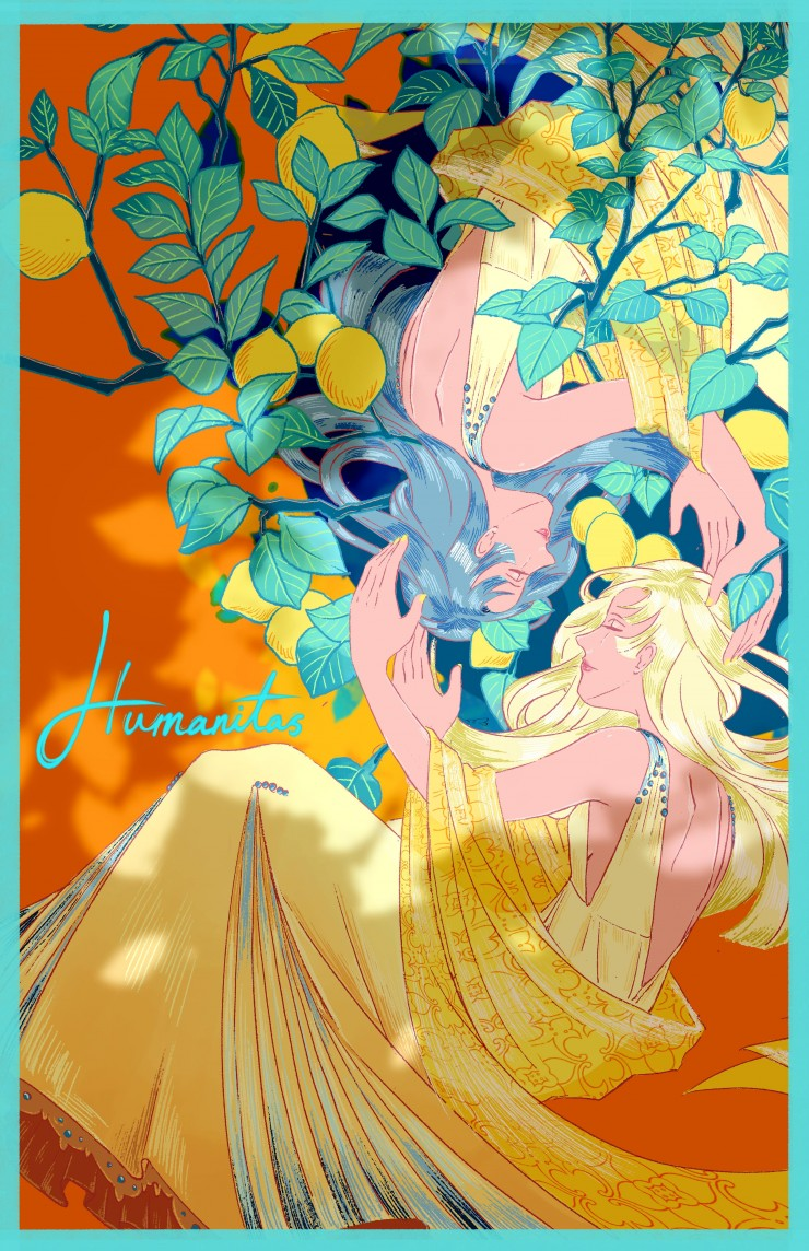 A poster of two girls hugging each other as the lemon tree grows behind them, symbolizing the equal love and care of all things.