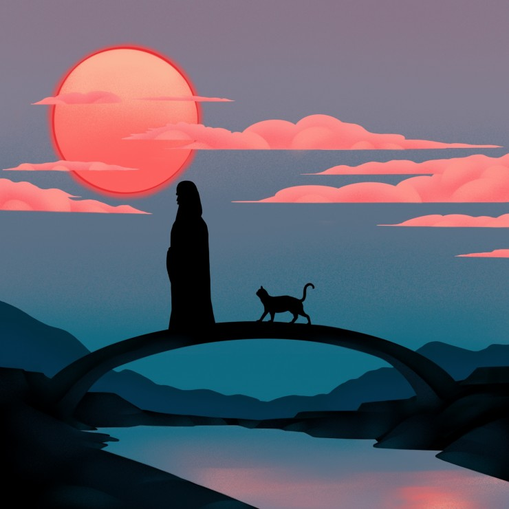 This is one illustration from series of the story I created. It is about a cat wants a new life to go back to the old famliy. It shows the cat with God in heaven and also about his owner.