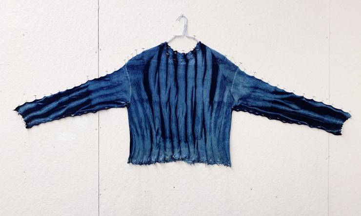 'Chidori-Shibori' Indigo-Dyed Sweater by Jason Greenberg