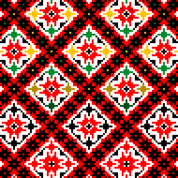 This piece is a vertical pixel design that starts at the top with a geometric pattern in a rainbow of colors with a red background. As the pattern continues down the banner, the pattern loses the rainbow accents and becomes only red and black. The bottom