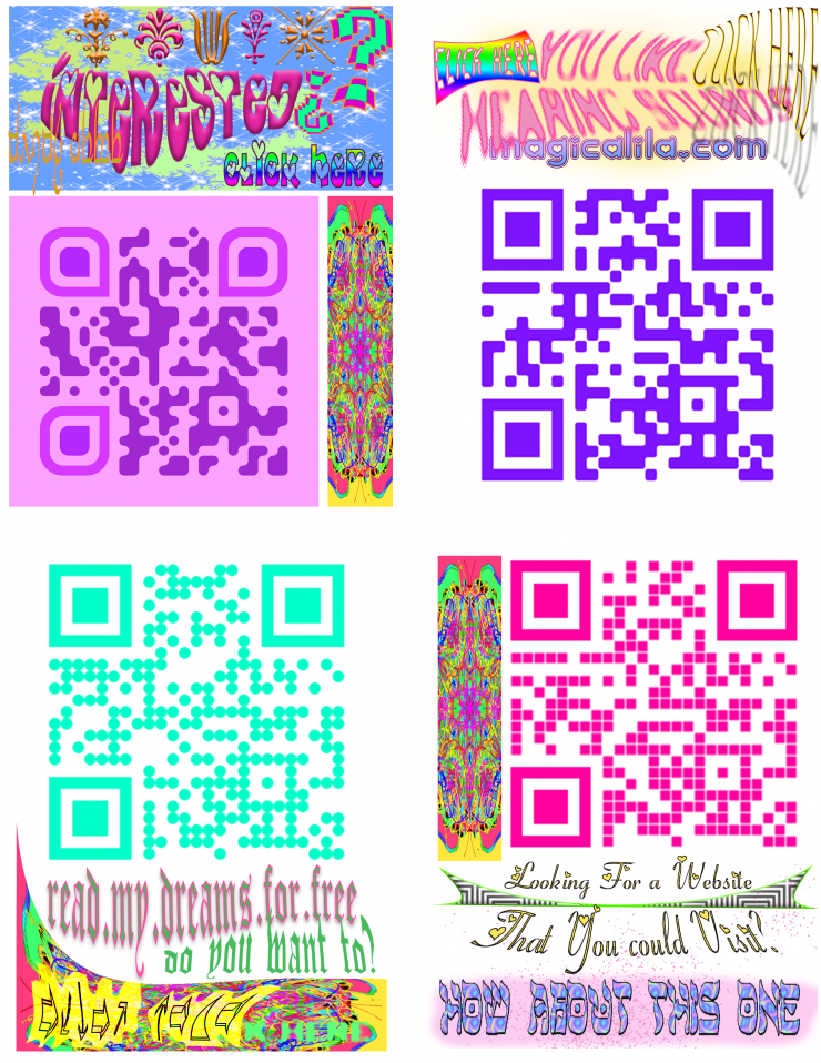 Images of publically hung colorful QR codes that lead to artist website.